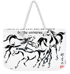 Weekender Tote Bag featuring the painting Rambunctious With Lao Tzu Quote I by Bill Searle