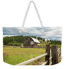 Ranch Fence And Barn With Hex Sign Weekender Tote Bag