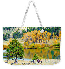 Ranch Pond In Autumn Weekender Tote Bag