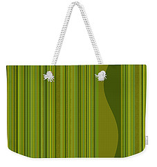 Weekender Tote Bag featuring the digital art Random Stripes - Golden Green by Val Arie