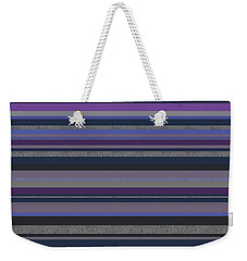 Weekender Tote Bag featuring the digital art Random Stripes - Grayed Blues And Purple by Val Arie