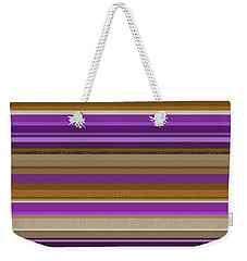 Weekender Tote Bag featuring the digital art Random Stripes - Purple And Gold by Val Arie