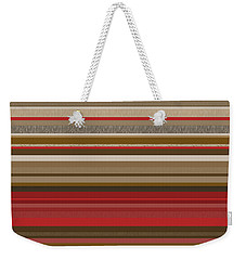 Weekender Tote Bag featuring the digital art Random Stripes - Red Accents by Val Arie
