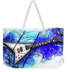 Randy's Guitar On Blue II Weekender Tote Bag by Gary Bodnar