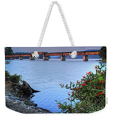 Weekender Tote Bag featuring the photograph Rankin Bottoms Rr Bridge by Douglas Stucky