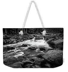 Rapids Through The Forest Bw Weekender Tote Bag