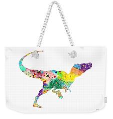 Raptor 2 Dinosaur Watercolor Weekender Tote Bag by Svetla Tancheva