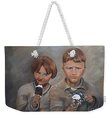 Weekender Tote Bag featuring the painting Rare Treat - Willie And Murrell-the Depression Era by Jan Dappen