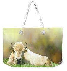 Weekender Tote Bag featuring the photograph Rare White Buffalo by Janette Boyd