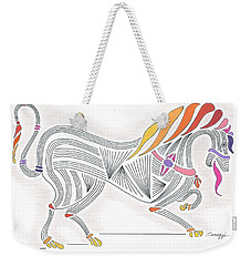 Rarin' To Go -- Stylized Medieval Prancing Horse W/ Rainbow Mane Weekender Tote Bag