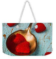 Raspberries With Antique Spoon Weekender Tote Bag by Garry Gay