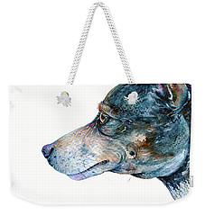 Weekender Tote Bag featuring the painting Rat Terrier by Zaira Dzhaubaeva