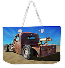 Weekender Tote Bag featuring the photograph Rat Truck On Beach 2 by Mike McGlothlen