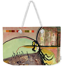 Weekender Tote Bag featuring the painting Rational Thought Begins Here by Paul McKey