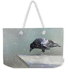 Raven In Winter Weekender Tote Bag