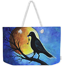Weekender Tote Bag featuring the painting Raven With Key by Agata Lindquist