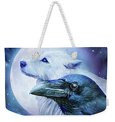 Weekender Tote Bag featuring the mixed media Raven Wolf Moon by Carol Cavalaris