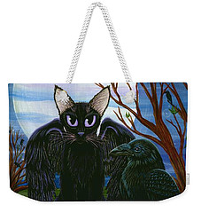 Weekender Tote Bag featuring the painting Raven's Moon Black Cat Crow by Carrie Hawks