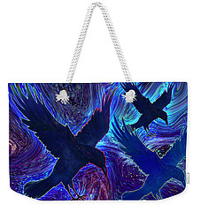 Weekender Tote Bag featuring the painting Ravens On Blue by Teresa Ascone