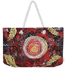 Raw Harmony Red And Gold Art Weekender Tote Bag