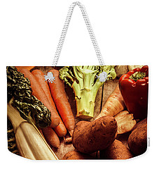 Raw Vegetables On Wooden Background Weekender Tote Bag by Jorgo Photography - Wall Art Gallery