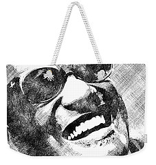 Ray Charles Bw Portrait Weekender Tote Bag by Mihaela Pater