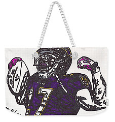 Weekender Tote Bag featuring the drawing Ray Rice 1 by Jeremiah Colley