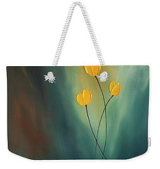 Weekender Tote Bag featuring the painting Rays Of Hope by Carmen Guedez