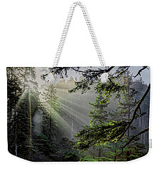 Rays Through An Oregon Rain Forest Weekender Tote Bag