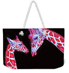 Read And Black Giraffes Weekender Tote Bag by Jane Schnetlage