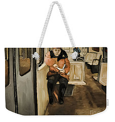 Reader On The Metro Weekender Tote Bag
