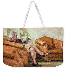 Weekender Tote Bag featuring the photograph Reading At The Library by Lewis Mann