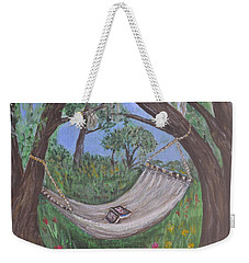 Weekender Tote Bag featuring the painting Reading Time by Debbie Baker