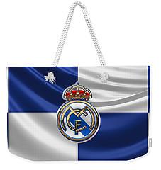 Real Madrid C F - 3 D Badge Over Flag Weekender Tote Bag