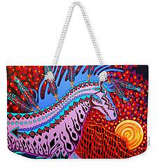 Weekender Tote Bag featuring the painting Rebel Moon by Debbie Chamberlin
