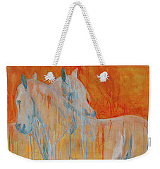 Weekender Tote Bag featuring the painting Reciprocity by Jani Freimann