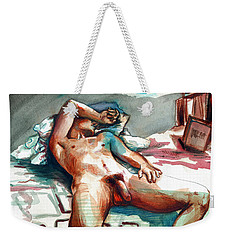 Nude Reclined Male Figure Weekender Tote Bag