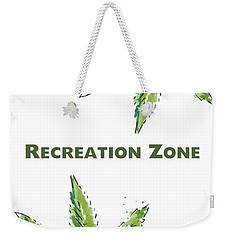 Weekender Tote Bag featuring the mixed media Recreation Zone Sign- Art By Linda Woods by Linda Woods
