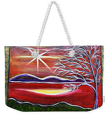 Red Abstract Landscape With Gold Embossed Sides Weekender Tote Bag