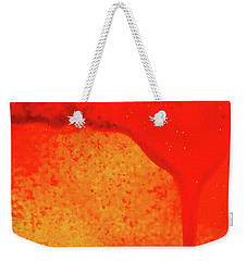 Red Abstract Paint Drips Square II Weekender Tote Bag by Tony Grider