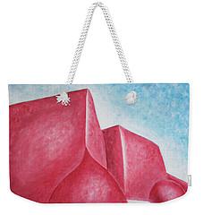 Weekender Tote Bag featuring the painting Red Adobes Under Winter Desert Sky by Ben Gertsberg