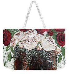 Red And Antique White Roses - Original Artwork Weekender Tote Bag