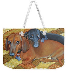Red And Black Dachshunds - Best Buds Weekender Tote Bag