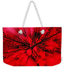 Weekender Tote Bag featuring the photograph Red And Black Explosion by Susan Capuano