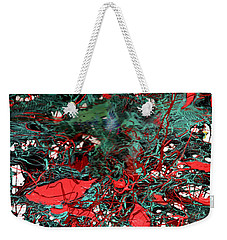 Weekender Tote Bag featuring the painting Red And Black Turquoise Drip Abstract by Genevieve Esson