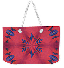 Weekender Tote Bag featuring the mixed media Red And Blue by Elizabeth Lock