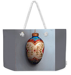Red And Blue Filigree Egg Ornament Weekender Tote Bag