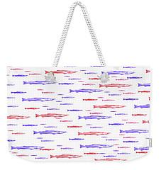 Red And Blue Fish Pattern Weekender Tote Bag