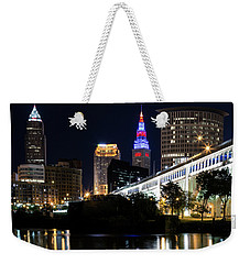 Weekender Tote Bag featuring the photograph Red And Blue In Cleveland by Dale Kincaid