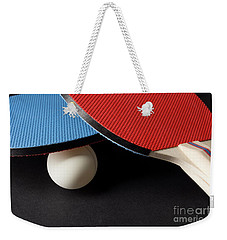 Red And Blue Ping Pong Paddles - Closeup On Black Weekender Tote Bag